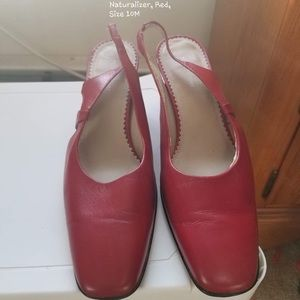 Red high open heel shoes